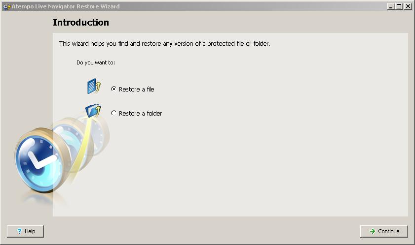 Live Navigator Restore di un file - Introduction
