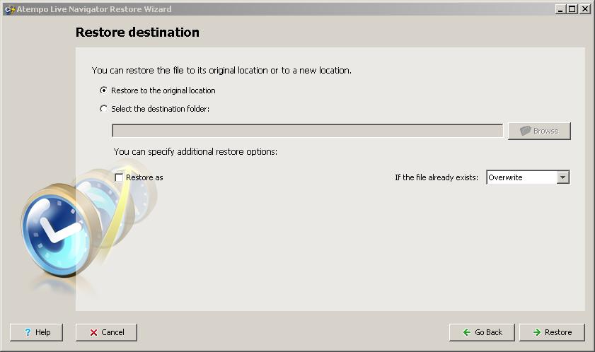 Live Navigator Restore di un file - Restore destination