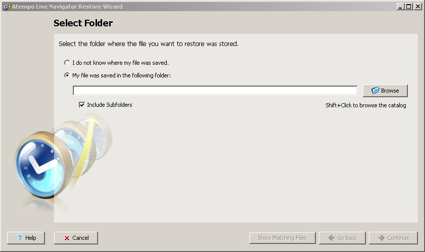 Live Navigator Restore di un file - Select Folder