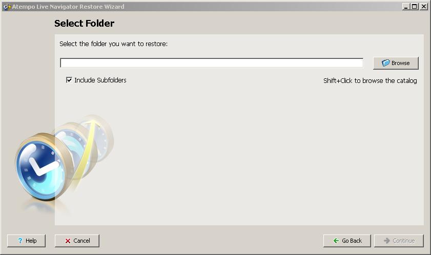 Live Navigator Restore di una cartella cancellata - Select Folder