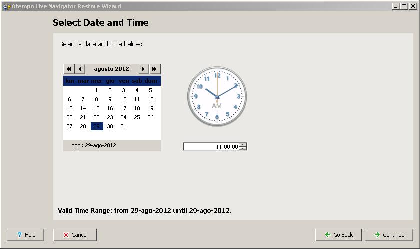 Live Navigator Restore di una cartella cancellata - Select Data and Time