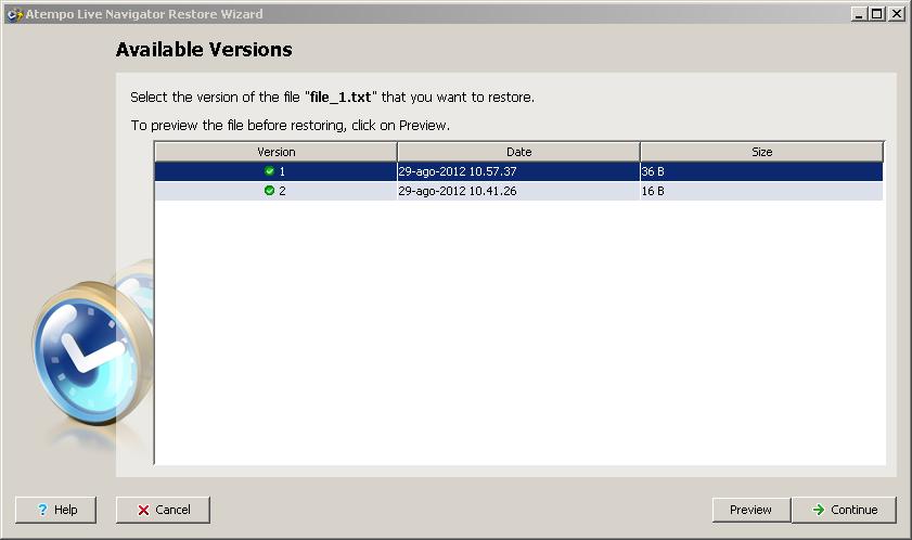 Live Navigator - Restore di una versione precedente di un file - Available Versions