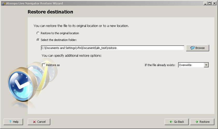 Live Navigator - Restore di una versione precedente di un file - Restore to the original location
