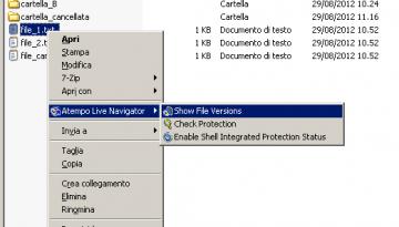 Live Navigator - Restore di una versione precedente di un file - Show File Versions