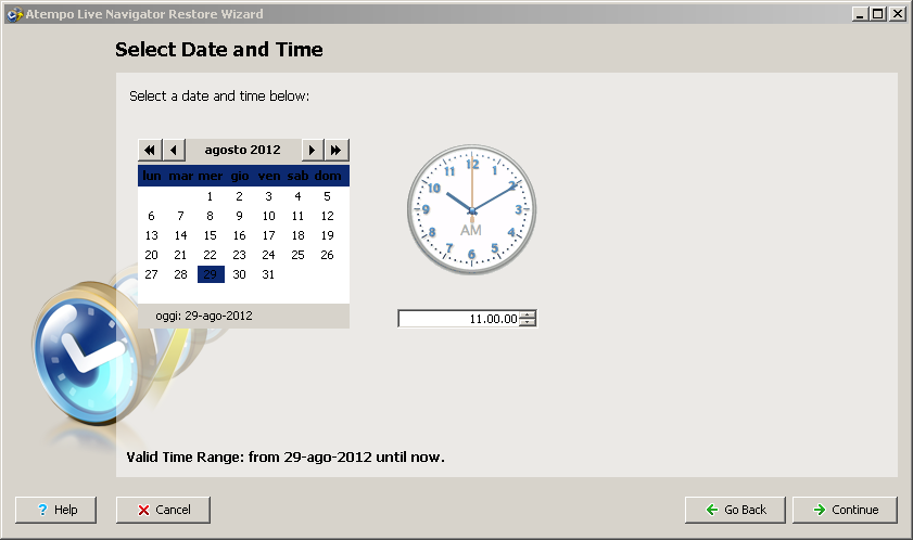 Live Navigator - restore di una versione precedente di una cartella - Select Date and Time