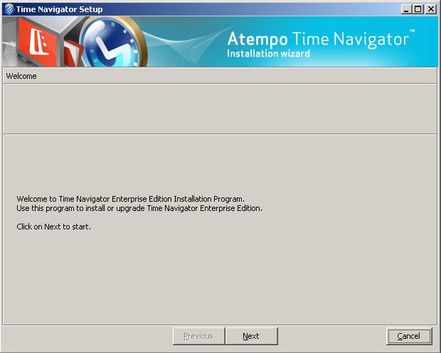 TiNA - schermata di benvenuto - Time Navigator 4.2
