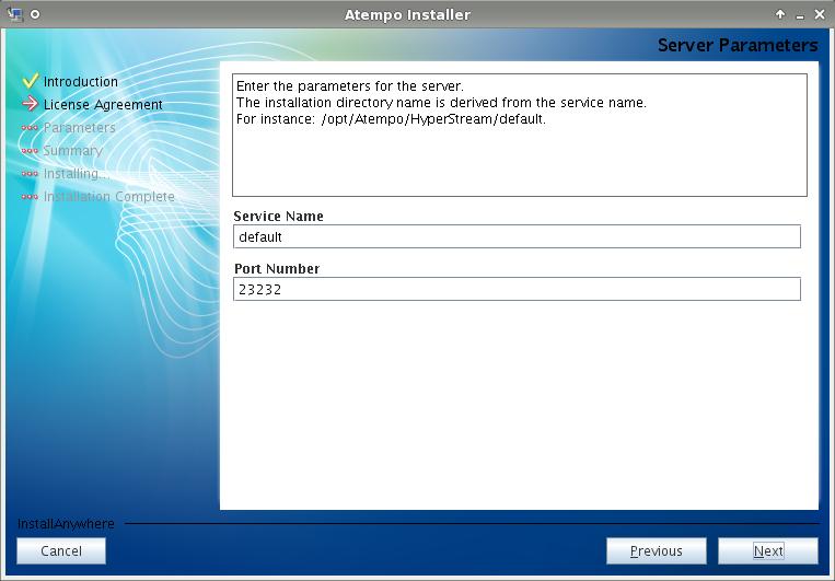 Live Navigator - Impostare i parametri del server: nome istanza e porta di rete.