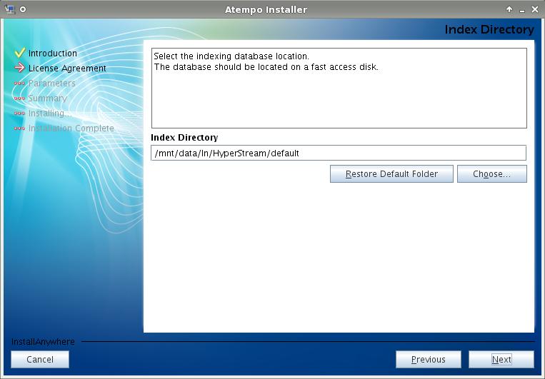 Live Navigator - Il percorso su disco dove verrà messo il database contenente l'indice dei dati.