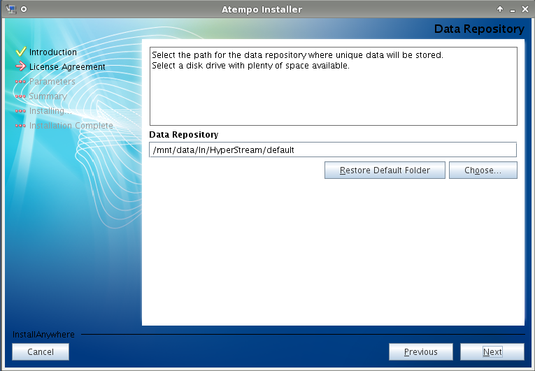 Live Navigator - Il percorso su disco dove verranno messi i dati.