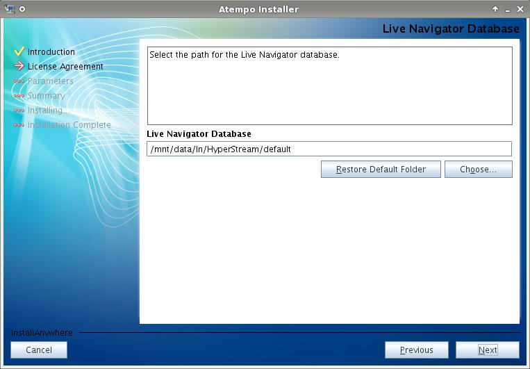 Live Navigator - Il percorso su disco dove verrà messo il database contenente le configurazioni.
