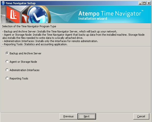 installazione server, agent o solo interfacce di amministrazione - Time Navigator 4.2